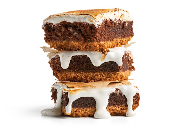 Three s'more brownies stacked on top of each other