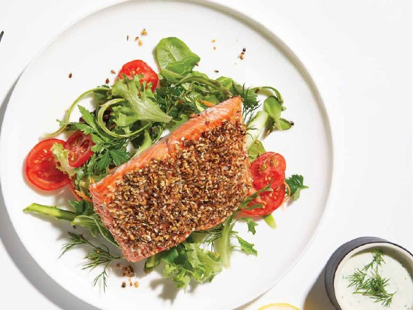 Plate of Seed Crusted Salmon with Side Salad