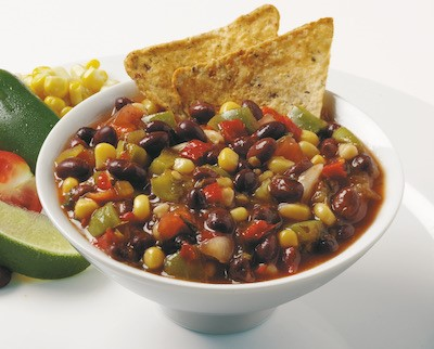 Hatch Chile and Black Bean Salsa in a bowl with chips