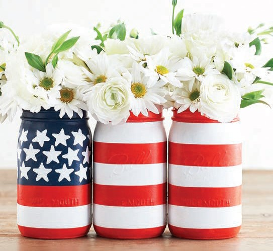 DIY painted flag vase set