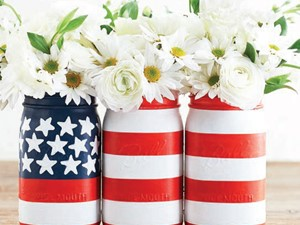 DIY painted flag vase set