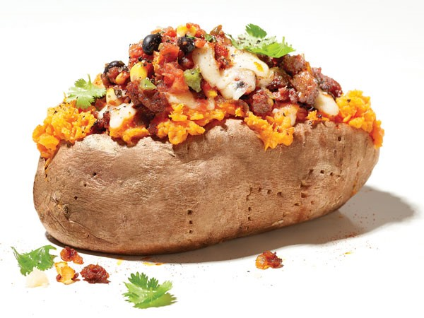 Chorizo-stuffed sweet potato