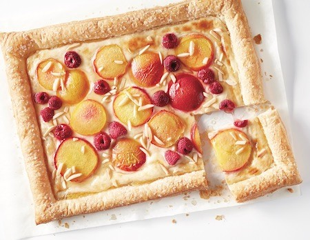 Peach and raspberry slab pie with almonds