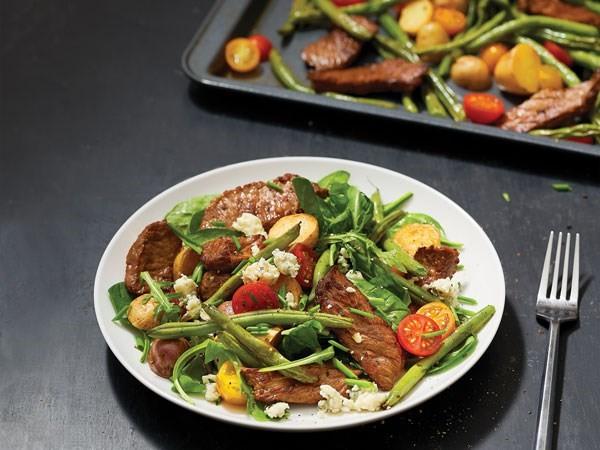 Sheet pan and plated steak salad