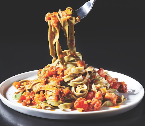 Vegan and vegetarian bolognese on a plate