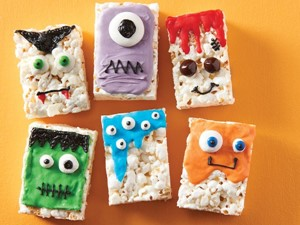 Popcorn bars decorated like monsters