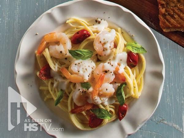 Plate of shrimp linguine Alfredo
