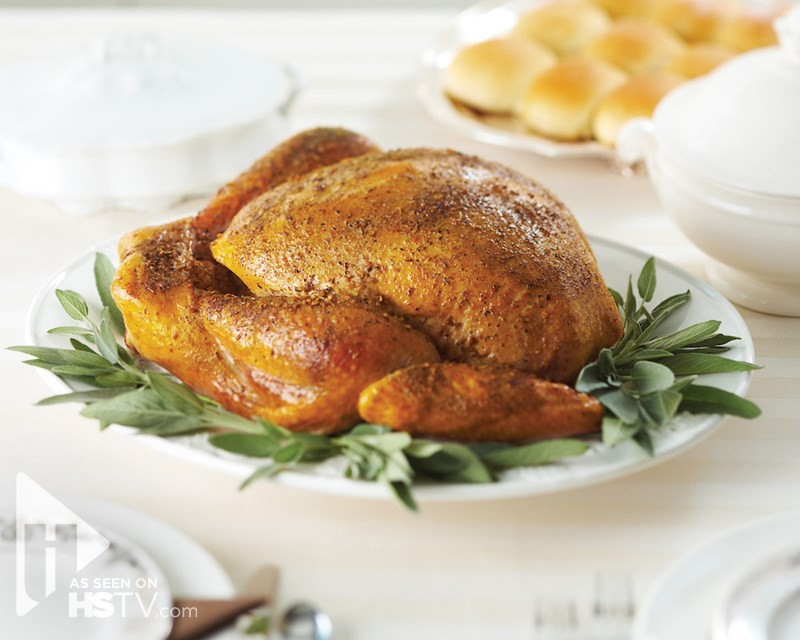 Bourbon-Glazed turkey on a bed of herbs