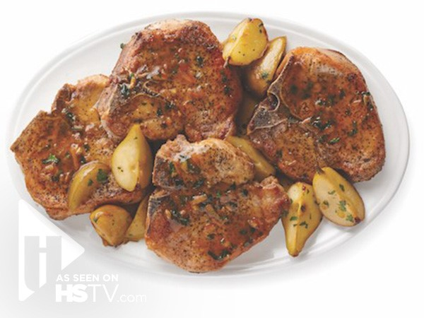Thick cut Iowa chops with apples