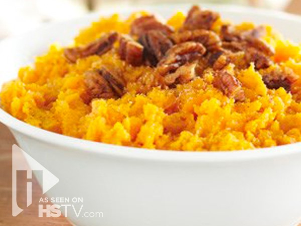 mashed sweet potatoes with caramelized pecans
