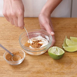 Stir in spices and lime juice into yogurt