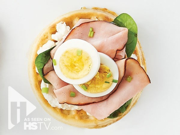 Ham and egg breakfast waffle