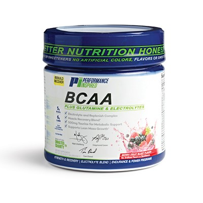 Container of BCAA supplement