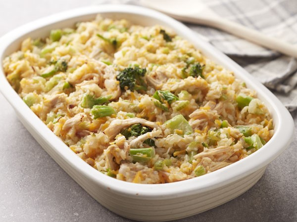 Rice, cheese, broccoli and chicken casserole in casserole dish