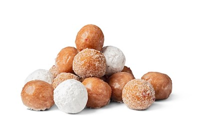a small tower of donut cherry donut holes, some are covered in powdered sugar