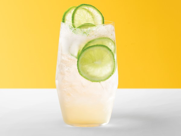 Lime-gin seltzer in an ice-filled cocktail glass with lime slices on a white and yellow background.