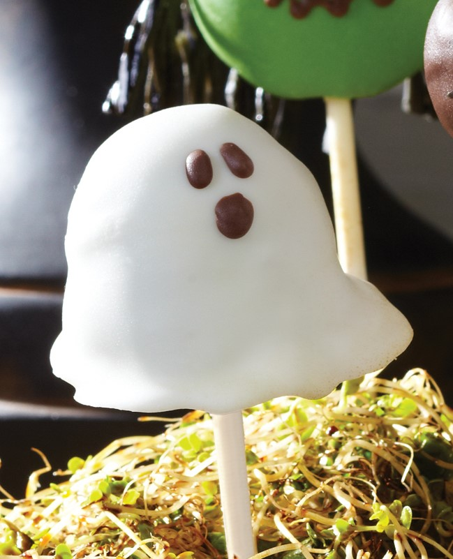 White Ghost Cake Pop with Chocolate Piped Mouth and Eyes