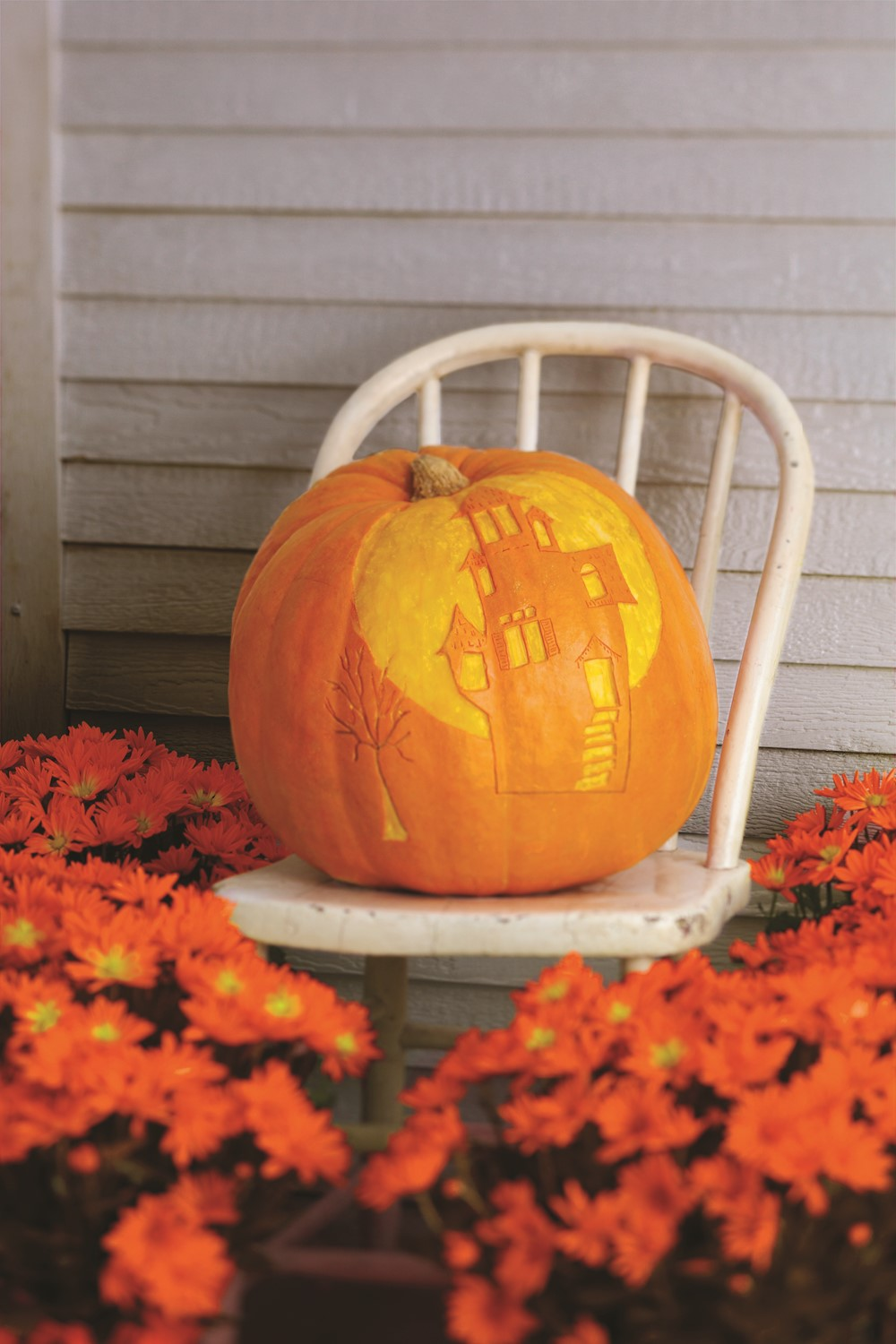 Pumpkin with Positive and Negative Carved Spaces Look Like a House