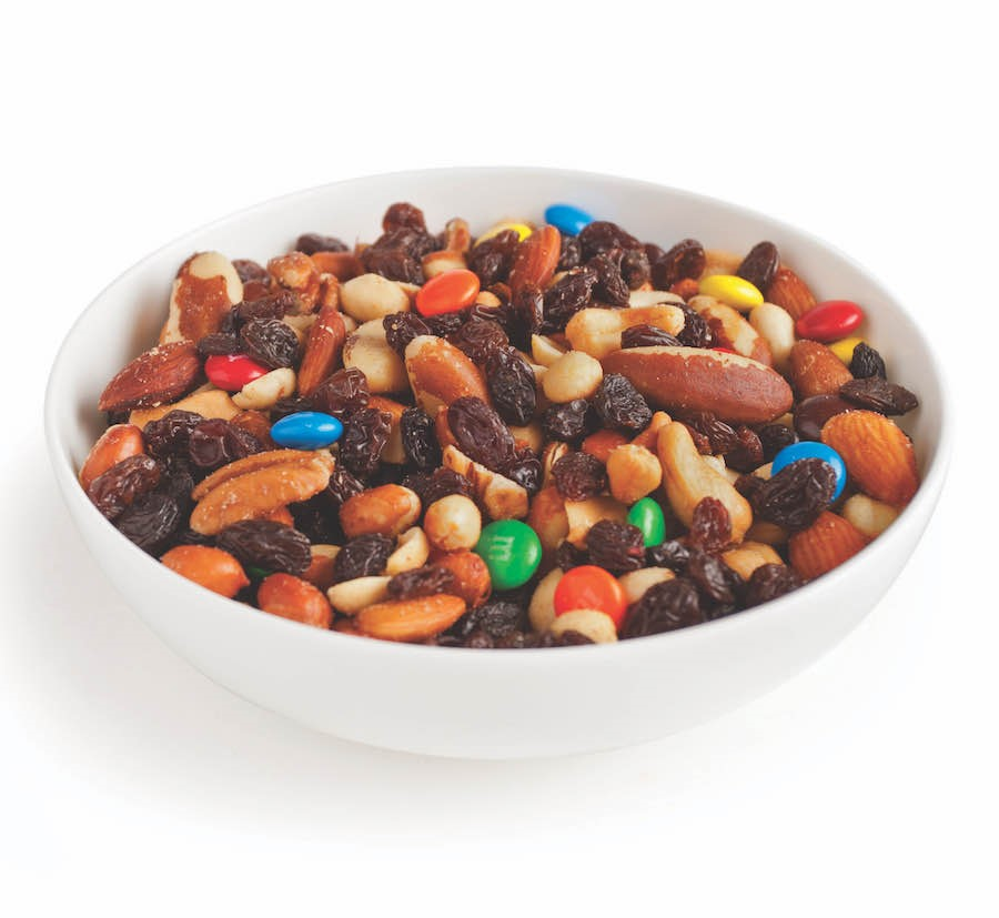 Trail Mix Filled with Cranberries, Assorted Nuts, and M&Ms