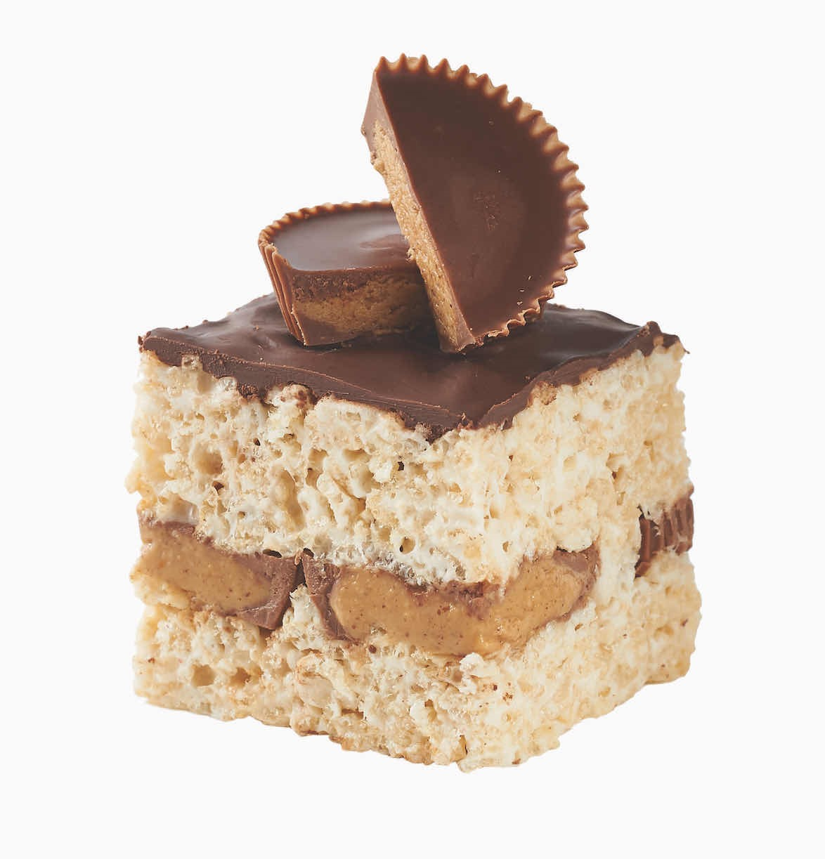 Peanut Butter Cup Filled Rice Crispy Bar