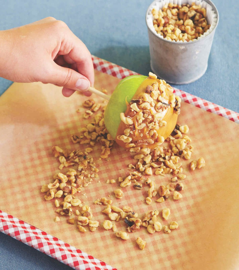 Caramel Apple Rolled in Chopped Walnuts