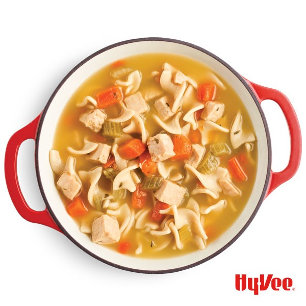 Chicken noodle soup with spiralized pasta noodles, chopped celery and carrots, and diced chicken in red dutch oven