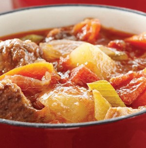 Red bowl filled with beef and vegetable stew