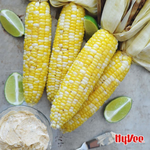 Sweet Corn seasoned in Chipotle and served with Lime Wedges