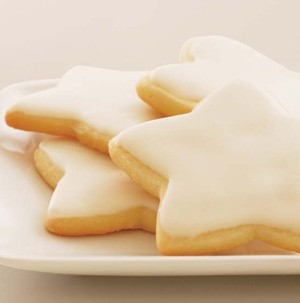 Star cut-out cookies with white glaze