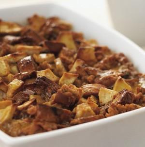 Casserole Dish of Cinnamon Apple Bread Pudding