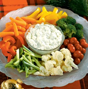 Bowl of Vegetables with Cucumber Dip in the center