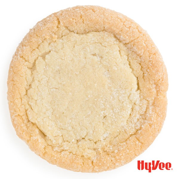 Whole baked sugar cookie with coarse sugar