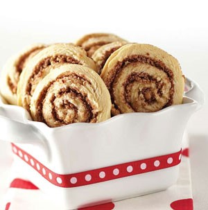 Cookies in a dish with a spiral of cinnamon sugar