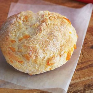 Cheesy Garlic Biscuit on Parchment Paper