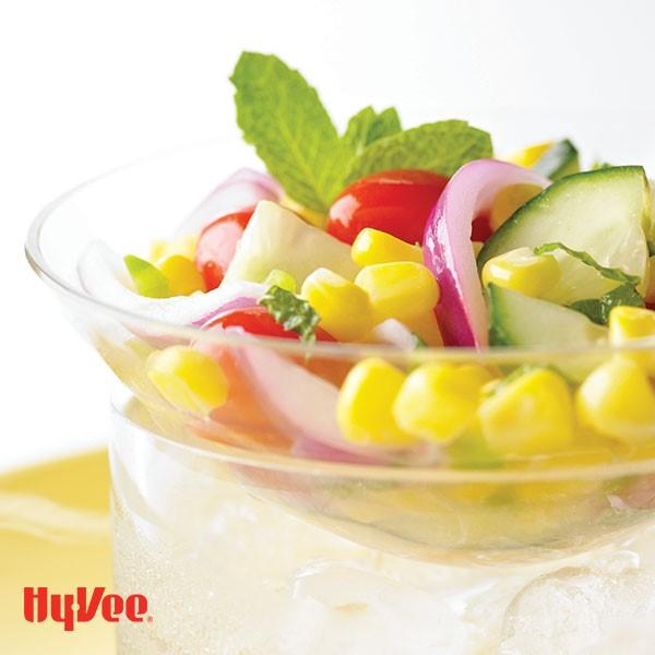 Bowl of Corn, Cucumber and Tomato Salad