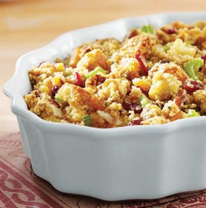 Baked cornbread stuffing served in a bowl