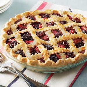Dish of Cherry-Apple Pie with lattice pie crust