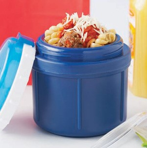 Blue thermos filled with spiralized noodles, meat balls, red sauce, and cheese