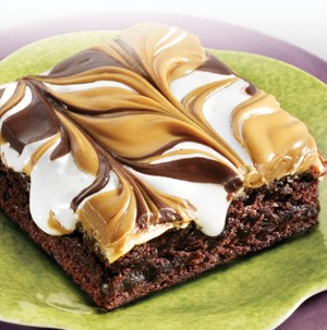 Brownies topped with swirled peanut butter, chocolate, and marshmallow cream