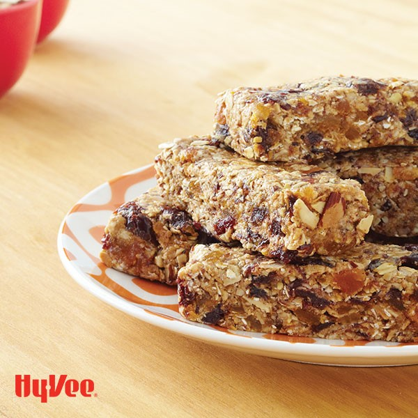 Plate of chewy almond energy bars