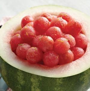 Fresh watermelon balls served in a hollowed watermelon bowl