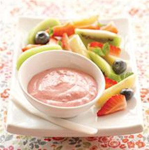 Strawberry fruit dip served with fresh-sliced fruit