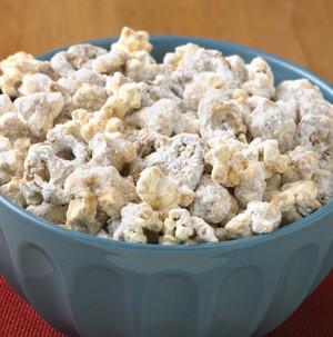 Bowl of popcorn and pretzel twists mixture