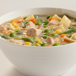 Bowl of creamy chicken noodle soup