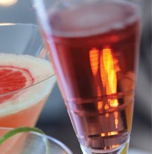 Glass of pomegranate spritzer