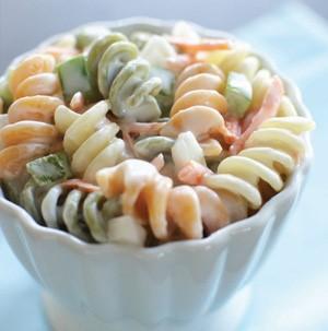 Cup of creamy pasta salad