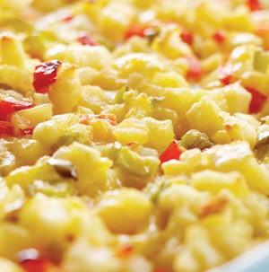 Dish of cheesy potato casserole