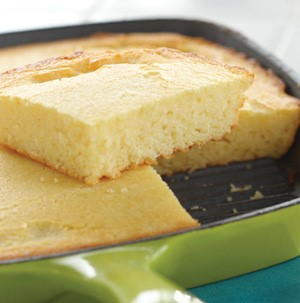 Cornbread cooked in a skillet