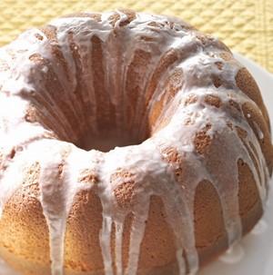 Almond poppy seed cake with white glaze