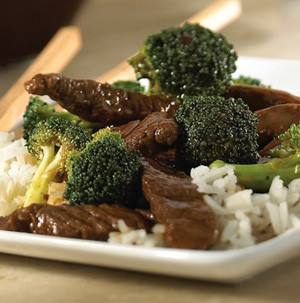 Plate of beef teriyaki with broccoli over white rice
